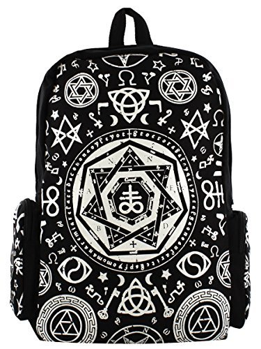 Banned-Pentagram-Hood-Backpack-Black