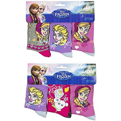 6er Set Frozen Disney Kinder Socken Strümpfe für Mädchen Gr. 27-34 wählbar (27-30) (Disney Socken Für Kinder)