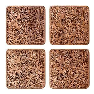 Londra Mappa della città Sottobicchiere, set di 4 sottobicchieri in legno Sapele con mappa della città, fatto a mano