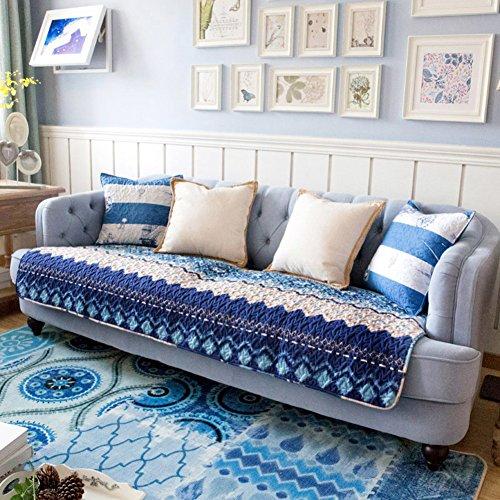 ZY Baumwolle Sofa abdeckung Sofa Überwurf Gesteppter Anti-rutsch Schmutzresistent Mediterrane streifen Sofahusse Für Sectional sofa-blau Kissen - Baumwolle Gesteppte Kissen-abdeckungen