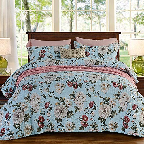 Tagesdecke 3 Stück Baumwolle Europäischen Gesteppte Bettdecke Drucken Style Bettdecke Quilt Und Kissenbezug King Size Bettwäsche 230CM*250CM