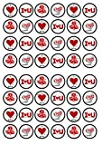48 I Love You, Ich Liebe Dich, Essbare PREMIUM Dicke GEZUCKERTE Vanille, Reispapier Mini Cupcake Toppers, Cake Pops, Cookies für Wafer