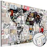 murando Modernes Acrylglasbild 120x80 cm - 3 Teilig – Glasbilder – TOP - Wand Bild - Kunstdruck - Wandbild – Bilder - Weltkarte Welt Karte Kontinent Landkarte k-C-0057-k-f 120x80 cm