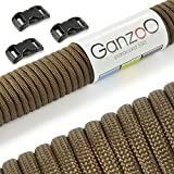 Paracord 550 Starter-Set einfarbig mit 3 Klickverschlüssen für Armband, Knüpfen von Hundeleine oder Hunde-Halsband zum selber machen / Seil mit 4mm Stärke / Mehrzweck-Seil / Survival-Seil / mit 7 Kernsträngen / Parachute Cord belastbar bis 250kg (550lbs) / reißfestes Kernmantel-Seil / inkl. 3 Klickverschlüssenaus Kunststoff (3/8