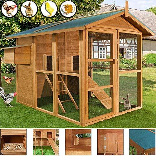*Cadoca Hühnerstall Hühnerhaus Stall Kleintier Hühner Hase Huhn Stall Haus Hasenstall Hühnervoliere groß V2*