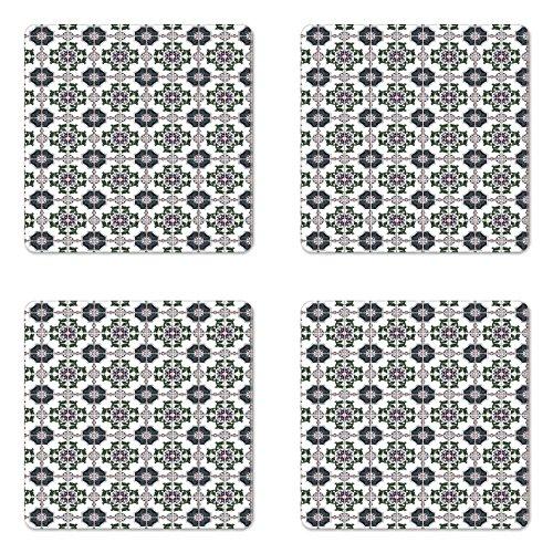Retro Untersetzer Set von vier von lunarable, Retro Blumen Blattwerk mit Sterne Kreise Muster Canonical Portugiesisch Azulejo Fliesen, quadratisch aus Hartfaserplatte glänzend Untersetzer für Getränke, multicolor