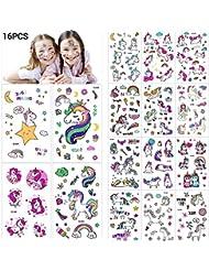 MelodySusie 16*Tatouages Temporaires de Licornes,Tatouages Ephémères Enfants,Anniversaire Licorne d'enfant, Petit Cadeau, Motifs avec Accessoired de Licornes pour Filles