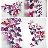 TRIXES Confezione da 12 farfalle magnetiche 3D rosa e viola,