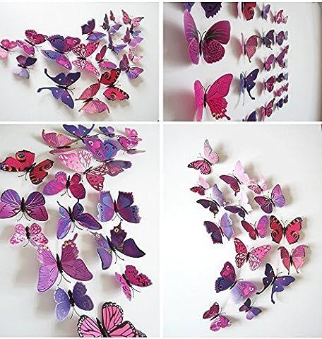 TRIXES Set mit 12 rosa und lila magnetischen 3D Schmetterlinge