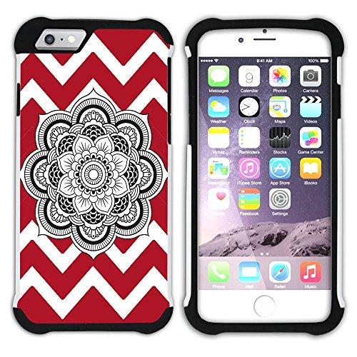 Graphic4You Mandala Blume Winkel Muster (Wasserblau) Hart + Weiche Kratzfeste Hülle Case Schale Tasche Schutzhülle für Apple iPhone 6 Plus / 6S Plus Rot