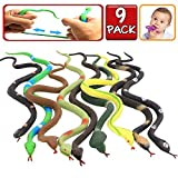 Rubber Snake,9 Pack Realistic Snake Toy Set,Food Grade Material TPR Super Stretchy+Learning Study Card,Zoo World Snake Figure Keep Birds Away Bathtub Garden Rainforest Squishy Reptile Fake Snake toy