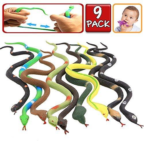 Gummi-Schlange, lebensechte Spielzeuge von Schlangen mit 9 Packungen, lebensmitellgeeignetes Material TPR, super dehnbar + Lernkarten, Tierwelt