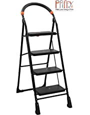 PAffy High Tensile Steel Folding Ladder with Wide Steps – 4 Steps (Clamber), Black