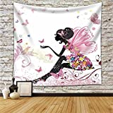 HANSHI Pinke Blume Nymphe mit Schmetterlingen Wandbehang Schöner Wandteppich Wandtuch Dekotuch Wandtuch Tischdecke Strandtuch Schöne Wanddeko Gutes Geschenk für Allle HYC02-B (Bunt 2, 150 x 200 cm)
