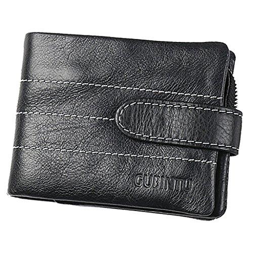 Homme Trifold Zipper PU Cuir Portefeuille Porte-monnaie Cadeau