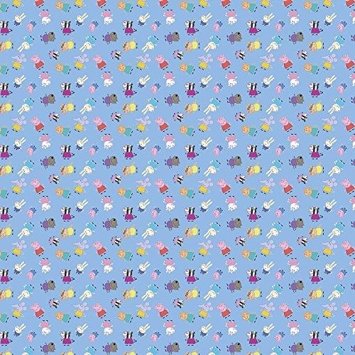 Peppa Pig–tela–por 0,5Metre–100% algodón SC170 Peppa Pig Friends Small Blue