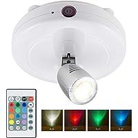 HONWELL Projecteur à LED sans fil, lumière de rondelle à piles avec télécommande, lampe d'accentuation murale réglable…