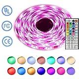 Simfonio Tiras LED Iluminación 5m 150leds 5050 SMD RGB Multicolor Kit Completo con Control remoto de 44 botones y fuente de alimentación 12V 2A para la Decoración del Hogar
