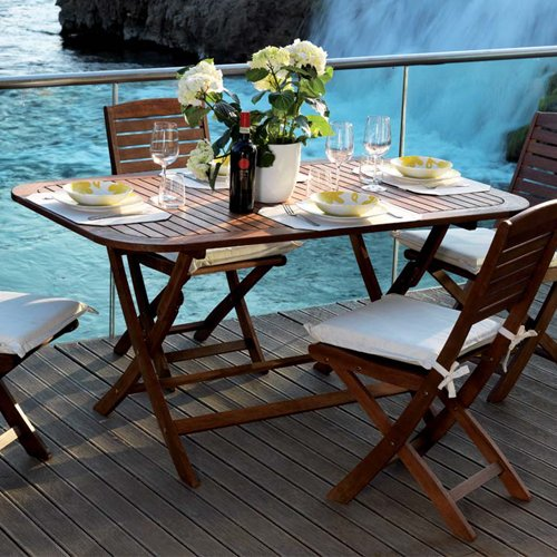 Tavolo in legno pieghevole da arredo giardino 120x70x74