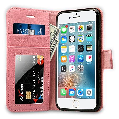 Labato Handytasche iPhone 6 6s Schutzhülle aus Echt Leder Bookstyle Tasche für i Phone 6 6s Zubehör schwarze Case Lbt-I6S-07Z10 pink
