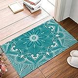 Fedso Fußmatte türkis Mandala Blumenmuster Eingang Fußmatte Teppich Indoor/Outdoor/Front/Badezimmer Fußmatten Gummi Rutschfeste