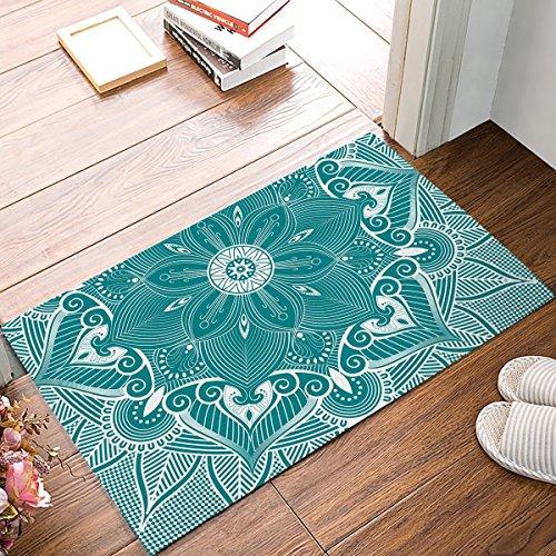 Fedso Alfombrilla de Goma Antideslizante para Entrada o baño, diseño de Mandala de Color Turquesa con Estampado Floral