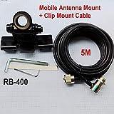Buwico Nagoya RB-400coche soporte de antena Soporte de coche clip de soporte de acero para coche radio Kenwood ICOM Yaesu radio de dos vías con S0239Conector + 5m Extender Cable