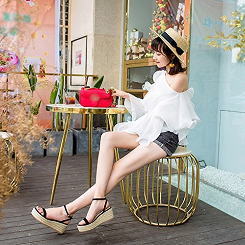 QINGTAOSHOP Ms./Wedge Sandals Straw Dew Thick Toe Plataformas Super High Heels (Color : Black, Size : 36-6cm)