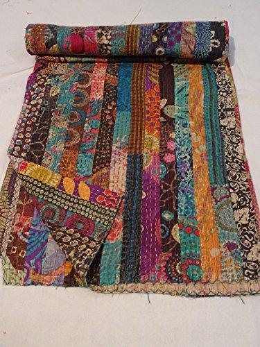 Tribal asiatischen Textilien indischen Ikat Kantha Quilt Bestickt Tagesdecke Gudri Queen Decke 003 -