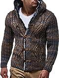 LEIF NELSON Herren Strick-Jacke mit Knöpfen | Casual Strick-Hoodie Slim Fit | Moderner Männer Wollstrick-Cardigan Langarm Kleidung Männer