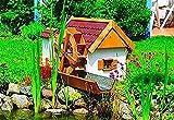 Promadino Holz-Wassermühle Jever L 110 x B 74 x H 59 cm Kiefernholz Umwälzpumpe