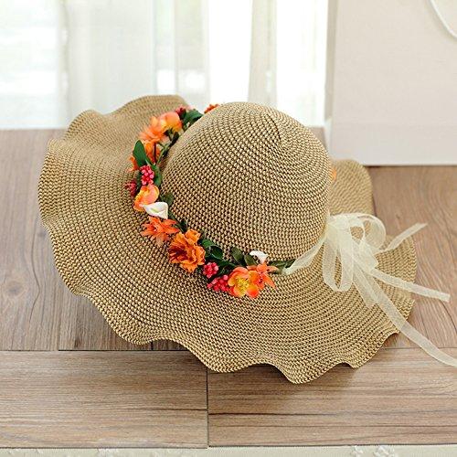 Femme été bord de mer chapeau de soleil Couronnes de main chapeau de paille Grandes corniches Crème solaire chapeau de soleil ( couleur : 4 ) 4