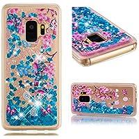 BONROY Handyhülle,Cover TPU Bumper Silikon Flüssigkeit Treibsand Clear Schutzhülle für Case Samsung Galaxy S9 Handy Hüllen-(TPU weicher Treibsand - Pflaume)