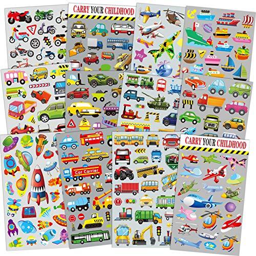 Sinceroduct Transport Aufkleber für Kinder 12 Blätter mit Autos, Flugzeug, Zug, Motorrad, Krankenwagen, Polizeiauto, Feuerwehrautos, Schulbus, Raumschiff, Rakete und mehr!