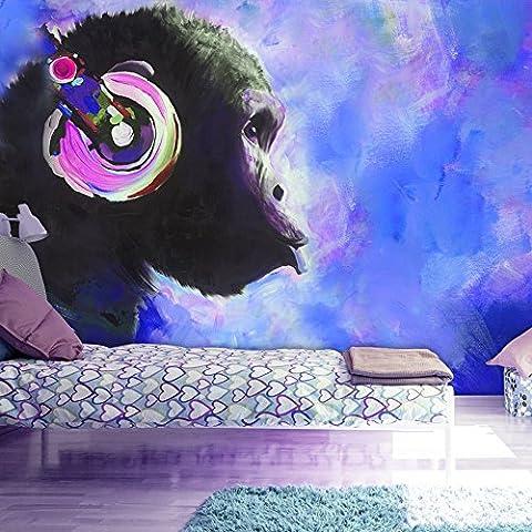 Fotomurali 50x35 cm - 3 colori da scegliere - Carta da parati sulla fliselina - Hit - Carta da parati in TNT - Quadri murali XXL Scimmia scimpanzè colorato g-A-0108-a-d