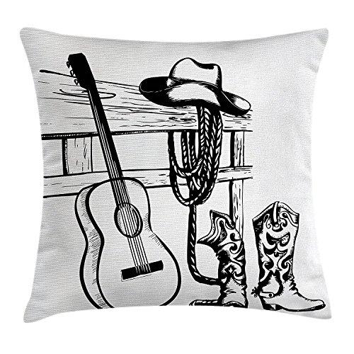 Kissenbezug, Country Musik und Cowboy Rodeo Thema mit Gitarre Folk Kultur Sketchy Design, dekorative quadratisch Accent Kissen Fall, 45,7x 45,7cm, schwarz weiß ()