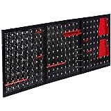 Arebos Werkzeugwand dreiteilig/17 teiliges Hakenset/120 x 40 x 1 cm