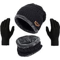 HUNTSMANS ERA Winter Knit Beanie Cap Hat Neck Warmer Scarf and Woolen Gloves Set Skull Cap for Men Women/Winter Cap for…