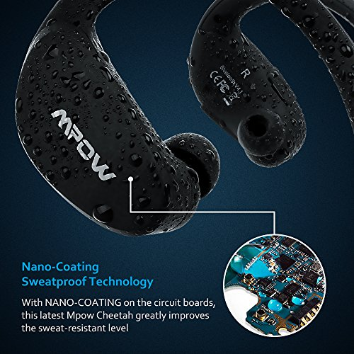 [Modified Version]Mpow 2nd Gen Cheetah Sport Bluetooth 4.1 Wireless Stereo Headphones Headset Earphones Earbuds with AptX, Microphone Hands-free Calling for iPhone 6s ,iPhone 6s Plus, iPhone 6, 6 Plus, 5 5c 5s 4s iPad iPod Touch, and Other Android Smaprt Phones, Black