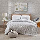 Urban Habitat, Halsey Floral, set di biancheria da letto, copripiumino, effetto ricamo, motivo floreale, moderno, Policotone, Grau, 230x220cm + 50x75cm