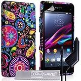 Yousave Accessories Qualle Silikon Gel Schutzhülle Mit Kfz-Ladegerät für Sony Xperia Z1Compact