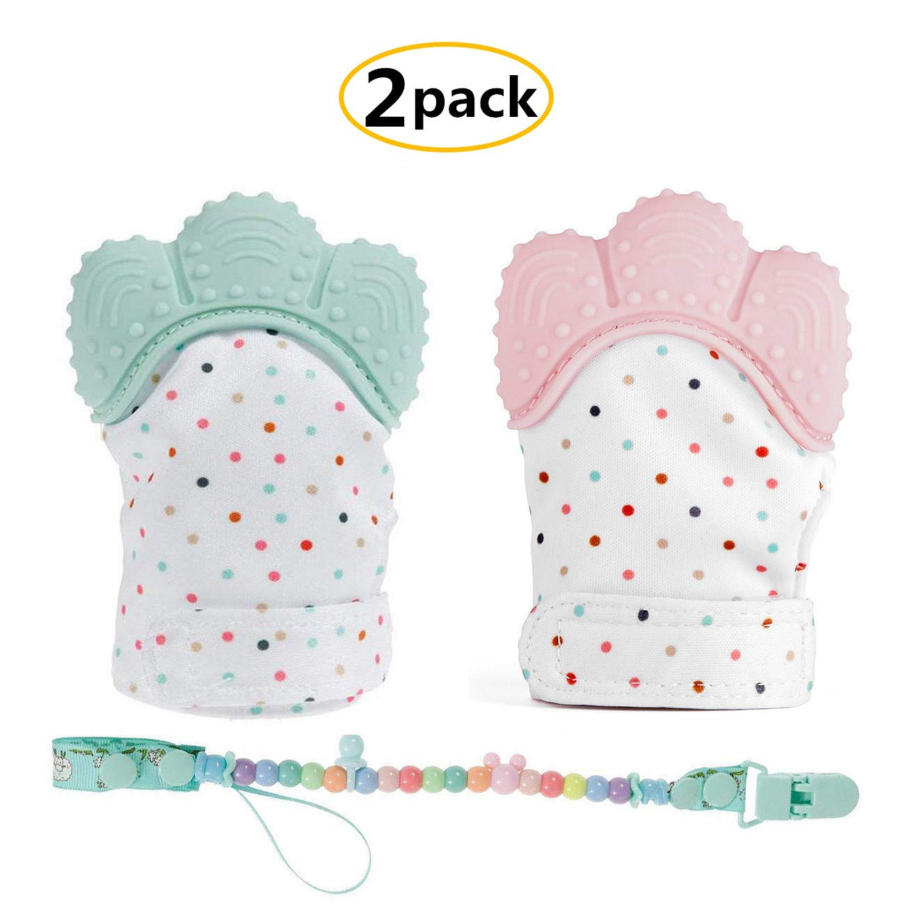 HBONE BPA FREE 2 Packs Baby Teething Mitten Soother Silicone Glove Chewing Toys for Babies 3-18 Months, Baby Munch Mitten Teether Teeth Grading Toy, Supports Self-Soothing Fun -Pain Relief