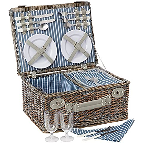Yellowstone Wicker Picnic - Set de mantenimiento para acampada, color multicolor, talla 4 Persons
