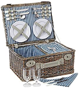 Yellowstone Wicker Picnic Basked with Cooler Compartment - Multi-Colour, 4 Persons