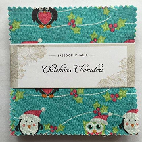 Stoff Freiheit Weihnachten Zeichen Blau Charm Pack 42Squares 100% Baumwolle Geschenkbündel viereckig je 12,7cm Breite x 12,7cm Länge Quilten Craft Patchwork Stoff Bundle Made in der UK Marke Neu In Präsentation Paket