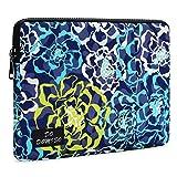 DOMISO 11.6 Zoll Laptop Hülle Tasche Canvas Fabric Blau-Grün Rosen Muster Tasche für 11.6