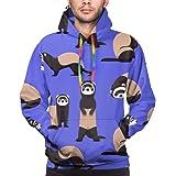 Men's Hoodie Cute Ferret Blue Sweate Sweatshirt Men's Casual Hoodie Casual Top Hooded