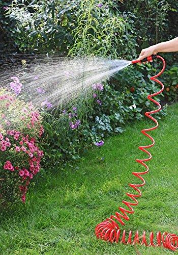 1PLUS Premium Spiral-Gartenschlauch 10 m & regulierbarer Wassersprühkopf & umfangreiches Zubehör-Set,in verschiedenen Farben (Rot)