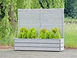 Pflanzkübel Holz lang mit Sichtschutz, Transparent Geölt Grau
