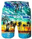 Idgreatim Männer 3D Gedruckt Boardshorts Coole Strand Swim Shorts Hawiian Swim Trunks für Sommerferien Urlaub L